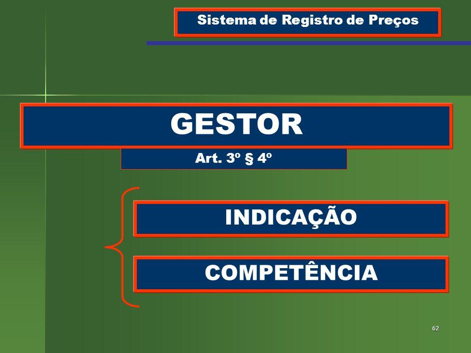 62 GESTOR Sistema de Registro de Preços Art. 3º § 4º INDICAÇÃO COMPETÊNCIA