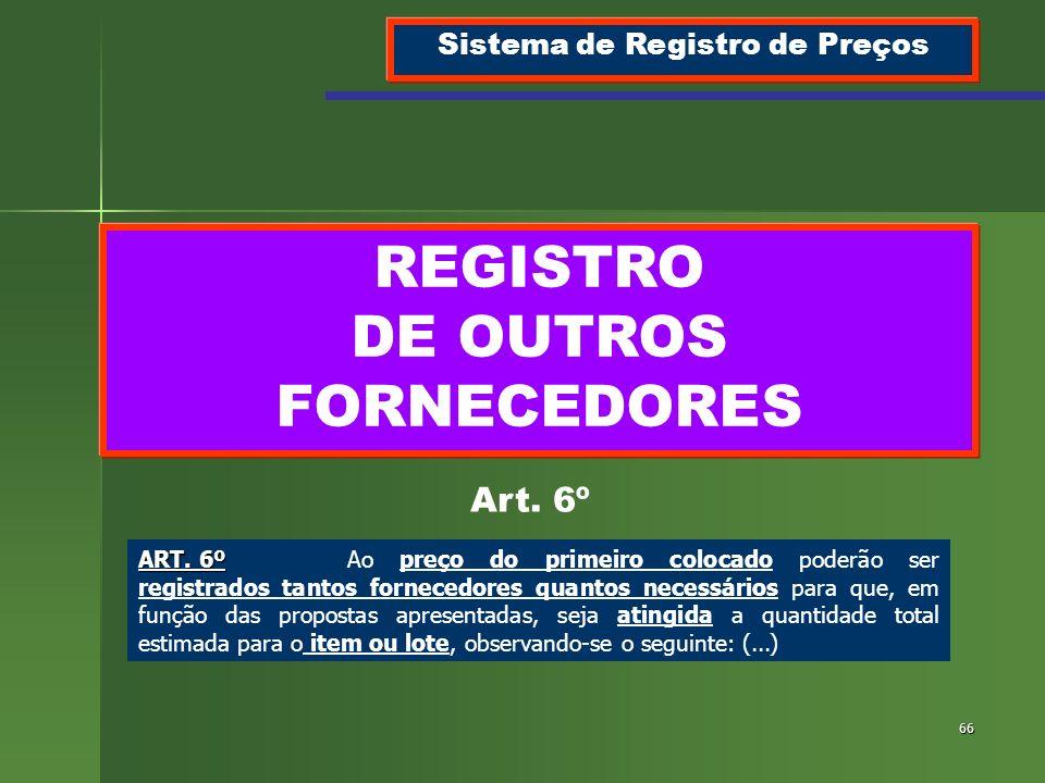 66 REGISTRO DE OUTROS FORNECEDORES Sistema de Registro de Preços Art. 6º ART. 6º ART. 6ºAo preço do primeiro colocado poderão ser registrados tantos f