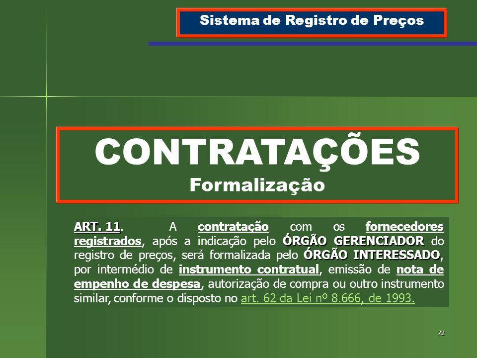 72 CONTRATAÇÕES Formalização Sistema de Registro de Preços ART. 11 ÓRGÃO GERENCIADOR ÓRGÃO INTERESSADO ART. 11.A contratação com os fornecedores regis