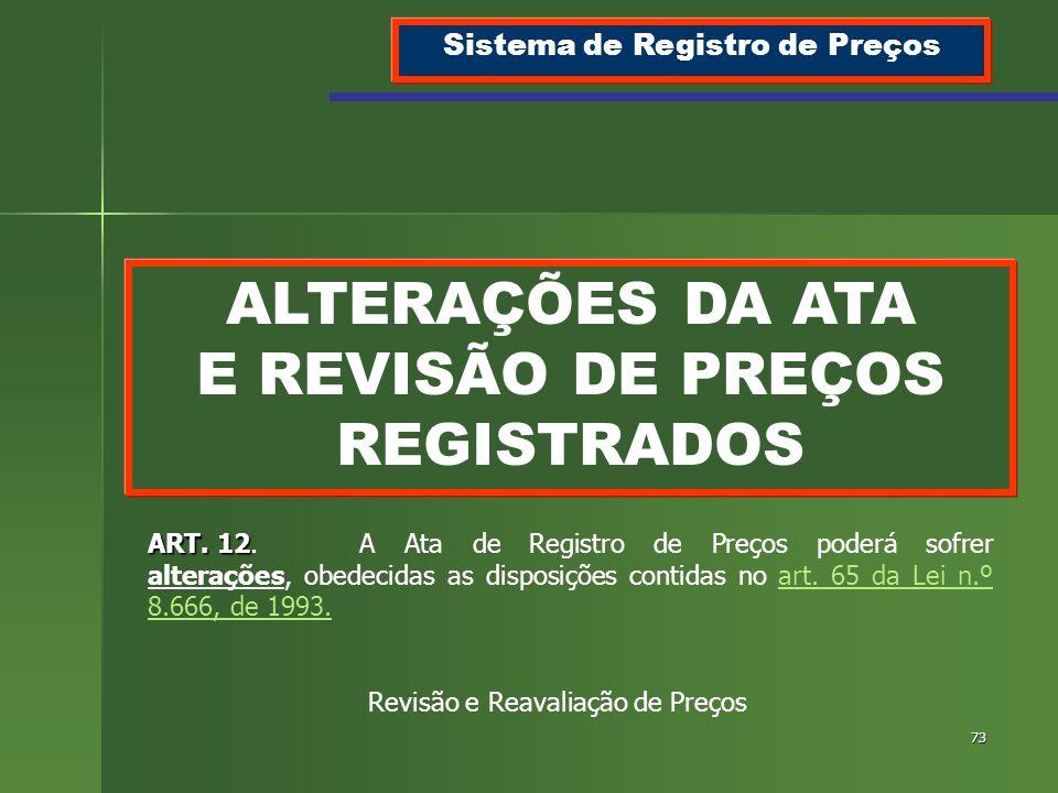 73 ALTERAÇÕES DA ATA E REVISÃO DE PREÇOS REGISTRADOS Sistema de Registro de Preços ART. 12 ART. 12.A Ata de Registro de Preços poderá sofrer alteraçõe