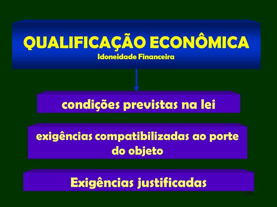 104 condições previstas na lei QUALIFICAÇÃO ECONÔMICA Idoneidade Financeira exigências compatibilizadas ao porte do objeto Exigências justificadas