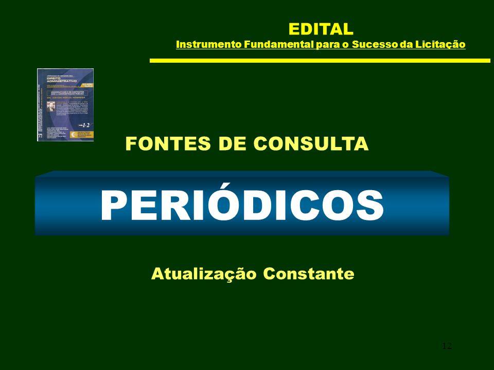 12 PERIÓDICOS Atualização Constante FONTES DE CONSULTA EDITAL Instrumento Fundamental para o Sucesso da Licitação