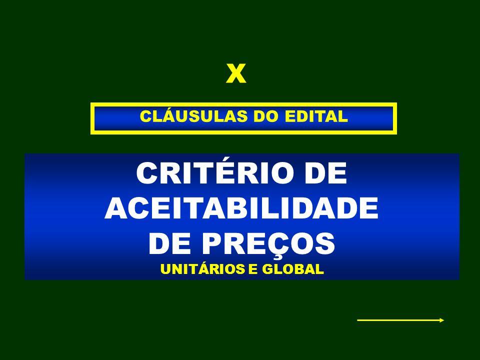 CRITÉRIO DE ACEITABILIDADE DE PREÇOS UNITÁRIOS E GLOBAL CLÁUSULAS DO EDITAL X
