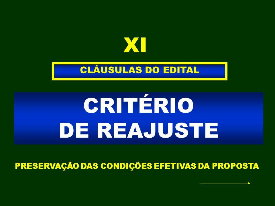 CRITÉRIO DE REAJUSTE CLÁUSULAS DO EDITAL XI PRESERVAÇÃO DAS CONDIÇÕES EFETIVAS DA PROPOSTA