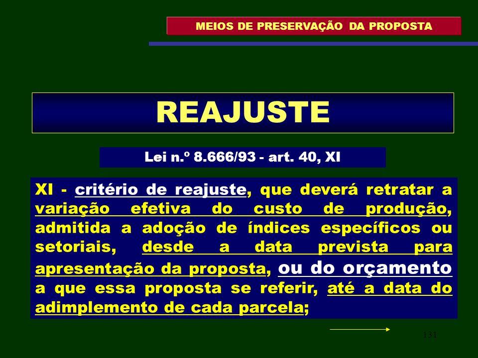 131 MEIOS DE PRESERVAÇÃO DA PROPOSTA REAJUSTE Lei n.º 8.666/93 - art. 40, XI XI - critério de reajuste, que deverá retratar a variação efetiva do cust