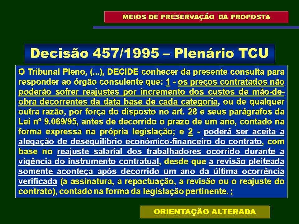 137 MEIOS DE PRESERVAÇÃO DA PROPOSTA O Tribunal Pleno, (...), DECIDE conhecer da presente consulta para responder ao órgão consulente que: 1 - os preç