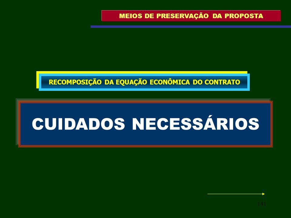 141 MEIOS DE PRESERVAÇÃO DA PROPOSTA CUIDADOS NECESSÁRIOS RECOMPOSIÇÃO DA EQUAÇÃO ECONÔMICA DO CONTRATO