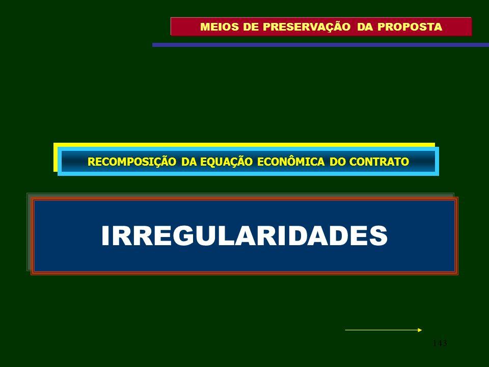 143 MEIOS DE PRESERVAÇÃO DA PROPOSTA IRREGULARIDADES RECOMPOSIÇÃO DA EQUAÇÃO ECONÔMICA DO CONTRATO
