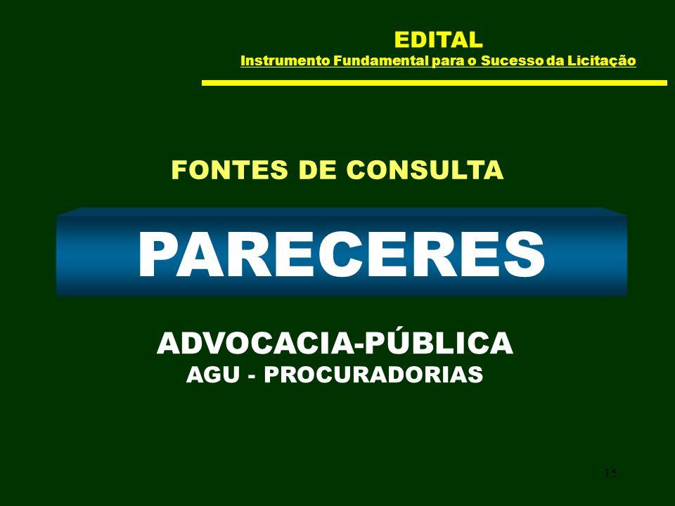 15 PARECERES ADVOCACIA-PÚBLICA AGU - PROCURADORIAS FONTES DE CONSULTA EDITAL Instrumento Fundamental para o Sucesso da Licitação