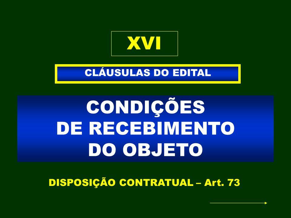 CONDIÇÕES DE RECEBIMENTO DO OBJETO CLÁUSULAS DO EDITAL XVI DISPOSIÇÃO CONTRATUAL – Art. 73