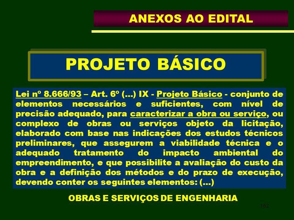 162 PROJETO BÁSICO Lei nº 8.666/93 – Art. 6º (...) IX - Projeto Básico - conjunto de elementos necessários e suficientes, com nível de precisão adequa