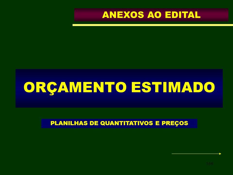 166 ORÇAMENTO ESTIMADO ANEXOS AO EDITAL PLANILHAS DE QUANTITATIVOS E PREÇOS