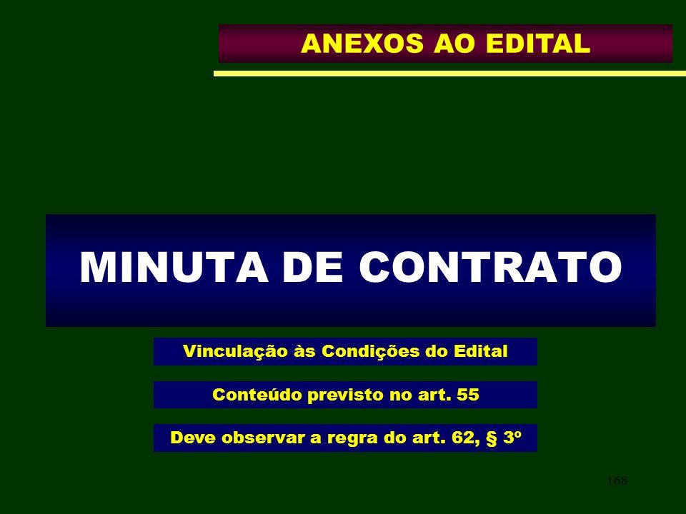 168 MINUTA DE CONTRATO Vinculação às Condições do Edital ANEXOS AO EDITAL Conteúdo previsto no art. 55 Deve observar a regra do art. 62, § 3º