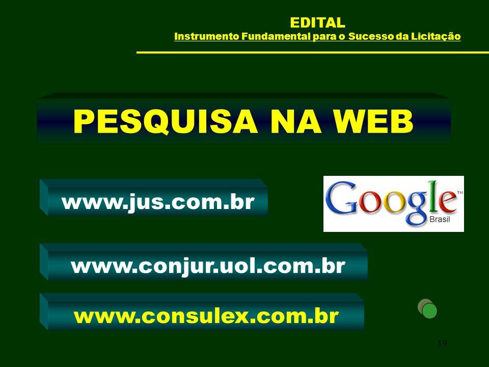 19 PESQUISA NA WEB www.conjur.uol.com.br www.jus.com.br www.consulex.com.br EDITAL Instrumento Fundamental para o Sucesso da Licitação