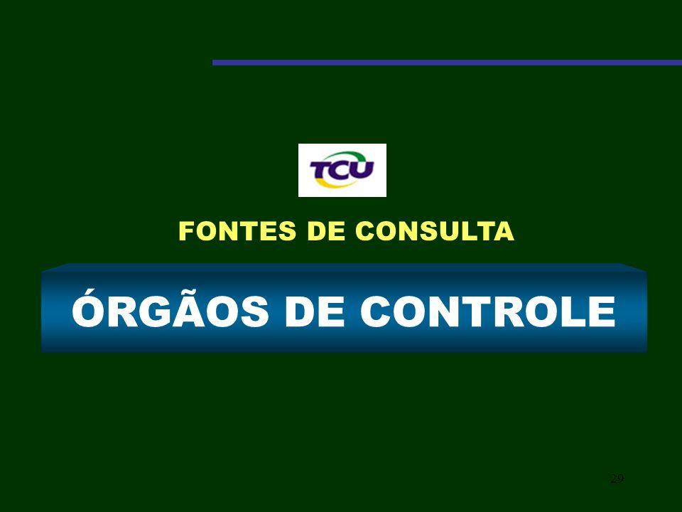 29 ÓRGÃOS DE CONTROLE FONTES DE CONSULTA