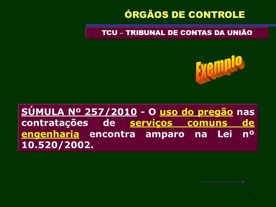 31 TCU – TRIBUNAL DE CONTAS DA UNIÃO ÓRGÃOS DE CONTROLE SÚMULA Nº 257/2010 - O uso do pregão nas contratações de serviços comuns de engenharia encontr