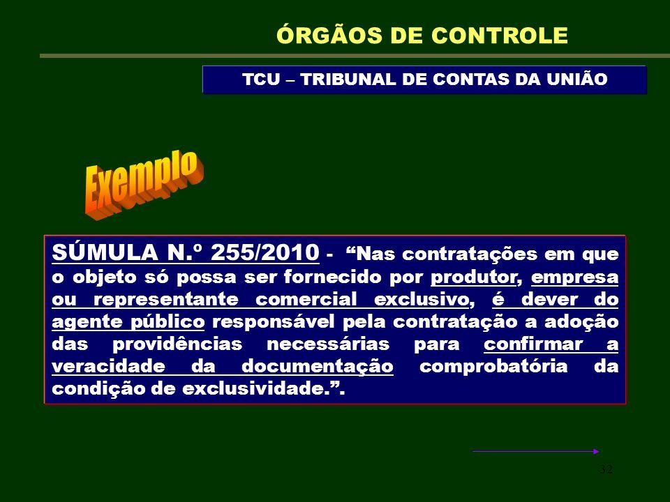 32 TCU – TRIBUNAL DE CONTAS DA UNIÃO ÓRGÃOS DE CONTROLE SÚMULA N.º 255/2010 - Nas contratações em que o objeto só possa ser fornecido por produtor, em