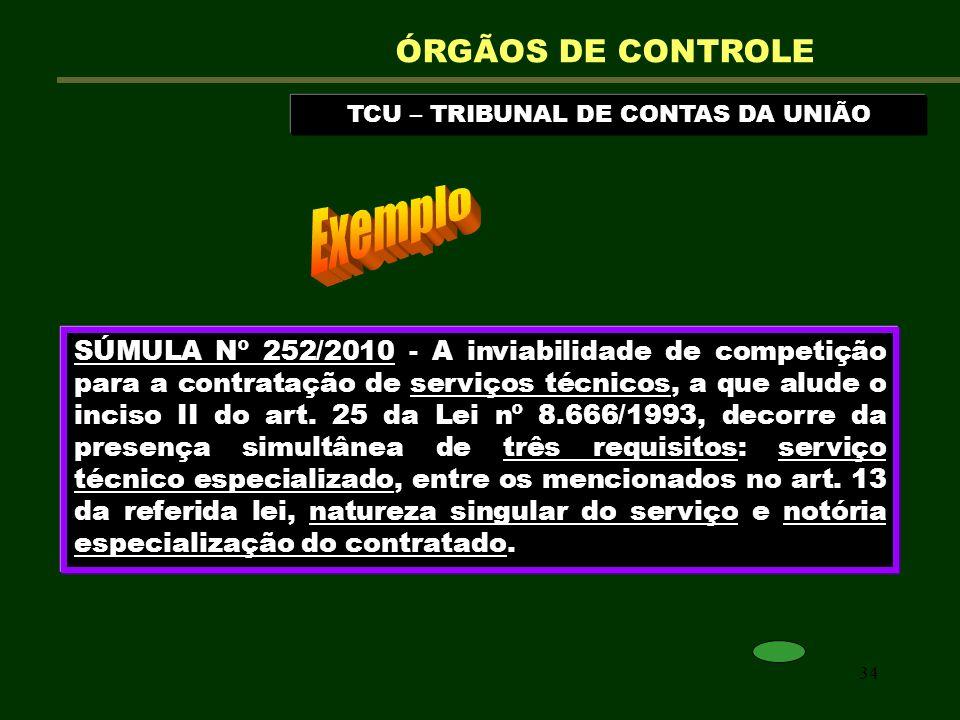 34 TCU – TRIBUNAL DE CONTAS DA UNIÃO ÓRGÃOS DE CONTROLE SÚMULA Nº 252/2010 - A inviabilidade de competição para a contratação de serviços técnicos, a