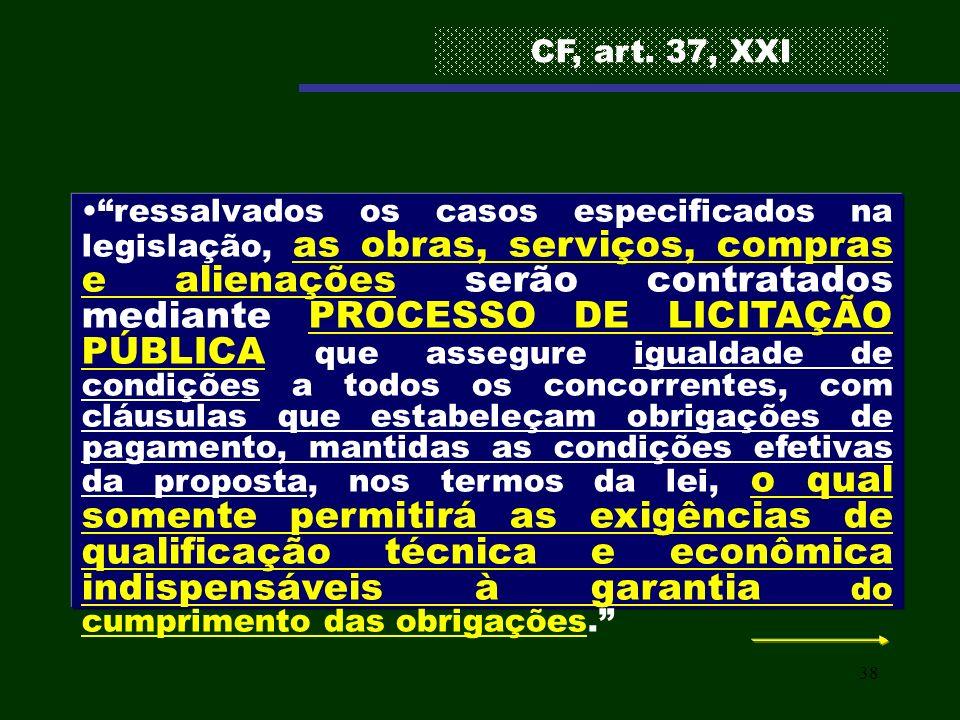 38 ressalvados os casos especificados na legislação, as obras, serviços, compras e alienações serão contratados mediante PROCESSO DE LICITAÇÃO PÚBLICA