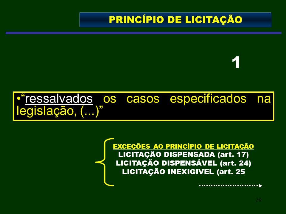 39 ressalvados os casos especificados na legislação, (...) PRINCÍPIO DE LICITAÇÃO 1 EXCEÇÕES AO PRINCÍPIO DE LICITAÇÃO LICITAÇÃO DISPENSADA (art. 17)