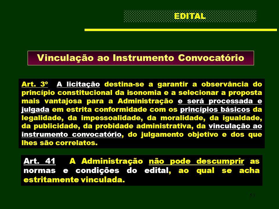 53 Vinculação ao Instrumento Convocatório Art. 3º A licitação destina-se a garantir a observância do princípio constitucional da isonomia e a selecion