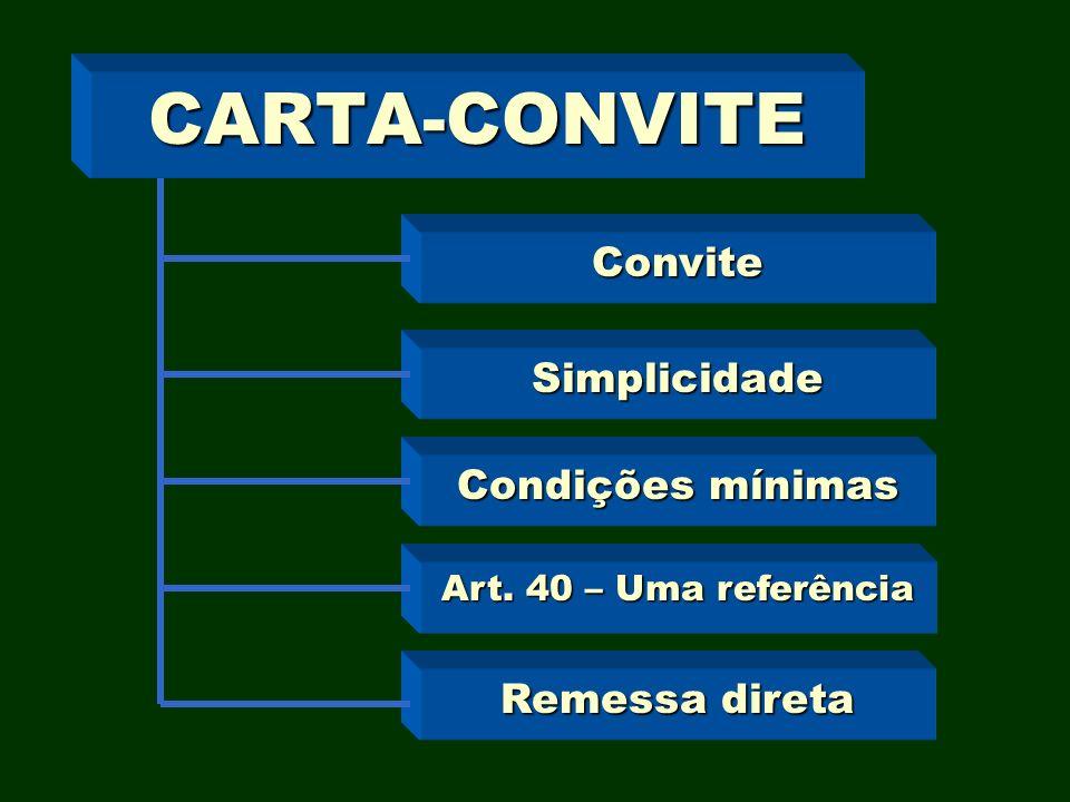 CARTA-CONVITE Convite Simplicidade Condições mínimas Art. 40 – Uma referência Remessa direta