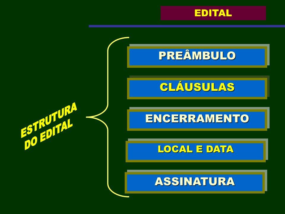 PREÂMBULOPREÂMBULO CLÁUSULASCLÁUSULAS ENCERRAMENTOENCERRAMENTO LOCAL E DATA ASSINATURAASSINATURA EDITAL