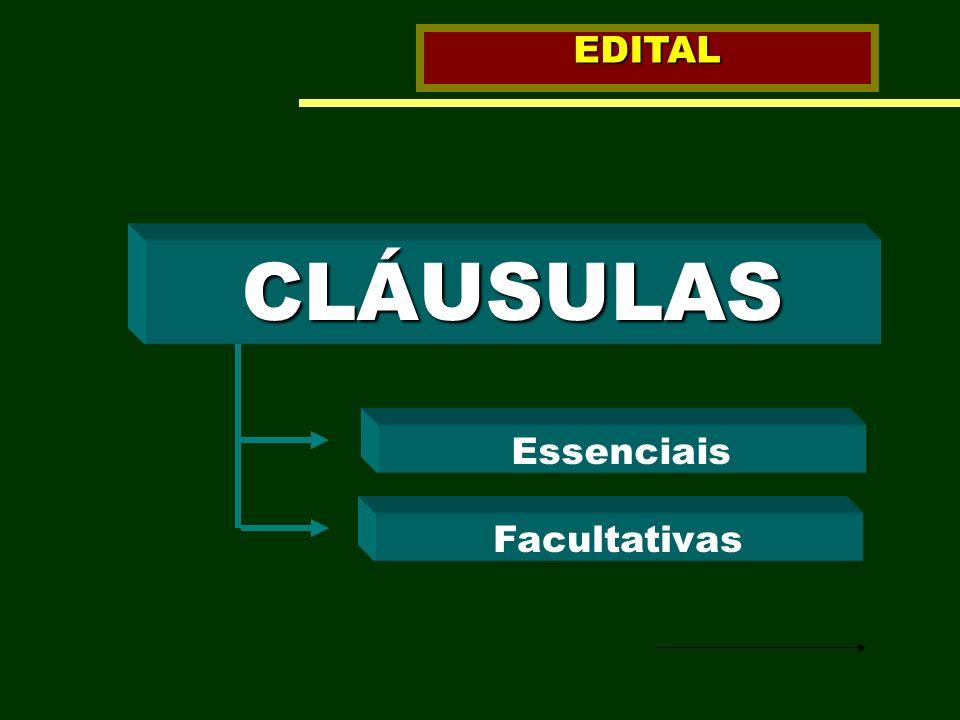 CLÁUSULAS Essenciais Facultativas EDITAL