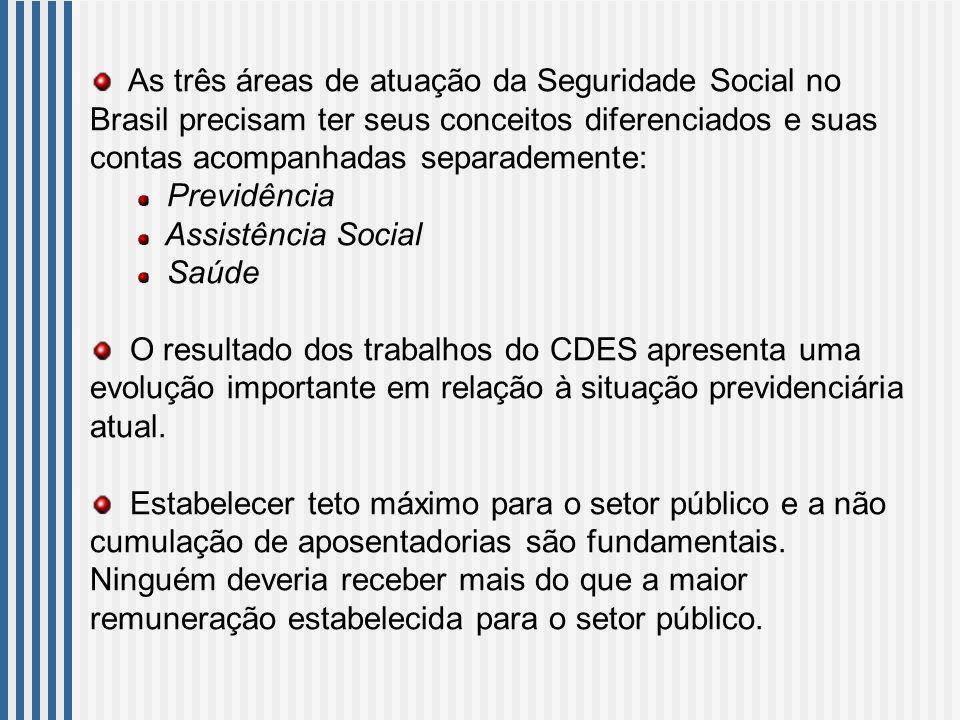 As três áreas de atuação da Seguridade Social no Brasil precisam ter seus conceitos diferenciados e suas contas acompanhadas separademente: Previdência Assistência Social Saúde O resultado dos trabalhos do CDES apresenta uma evolução importante em relação à situação previdenciária atual.