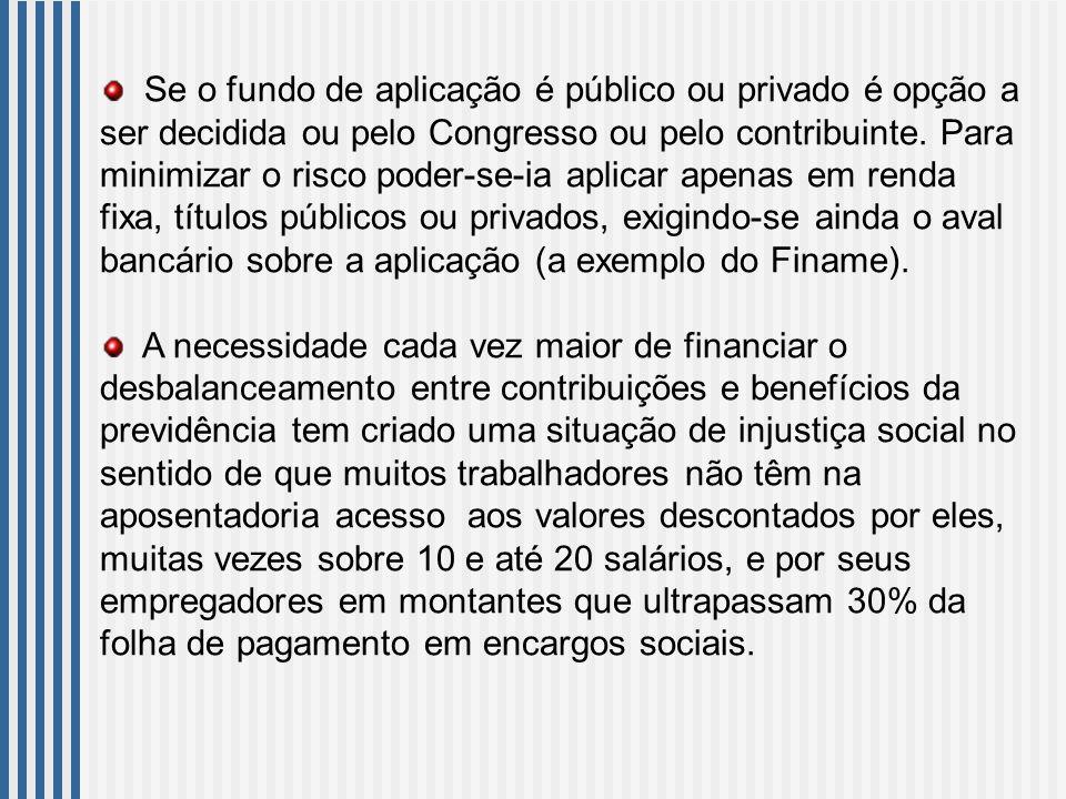 Se o fundo de aplicação é público ou privado é opção a ser decidida ou pelo Congresso ou pelo contribuinte.