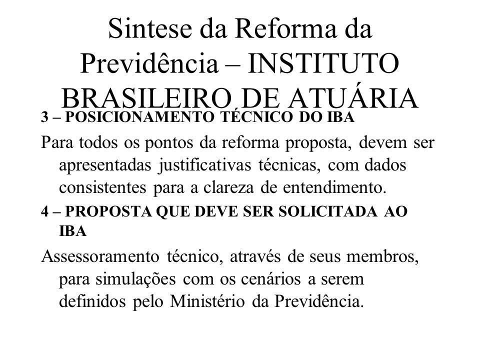 Sintese da Reforma da Previdência – INSTITUTO BRASILEIRO DE ATUÁRIA 3 – POSICIONAMENTO TÉCNICO DO IBA Para todos os pontos da reforma proposta, devem