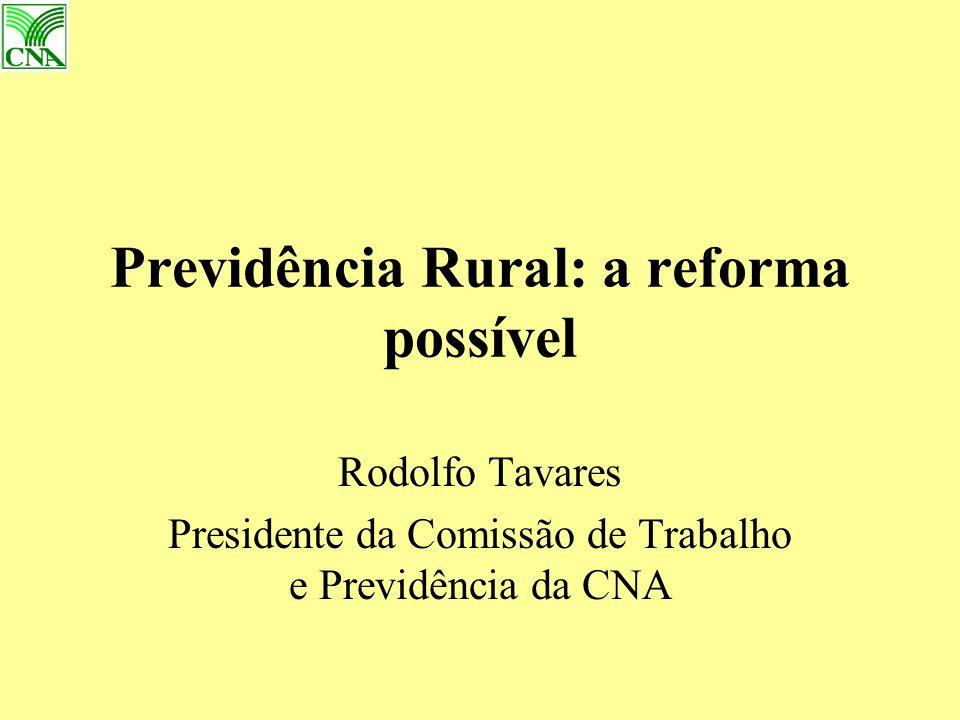 Previdência Rural: a reforma possível Rodolfo Tavares Presidente da Comissão de Trabalho e Previdência da CNA