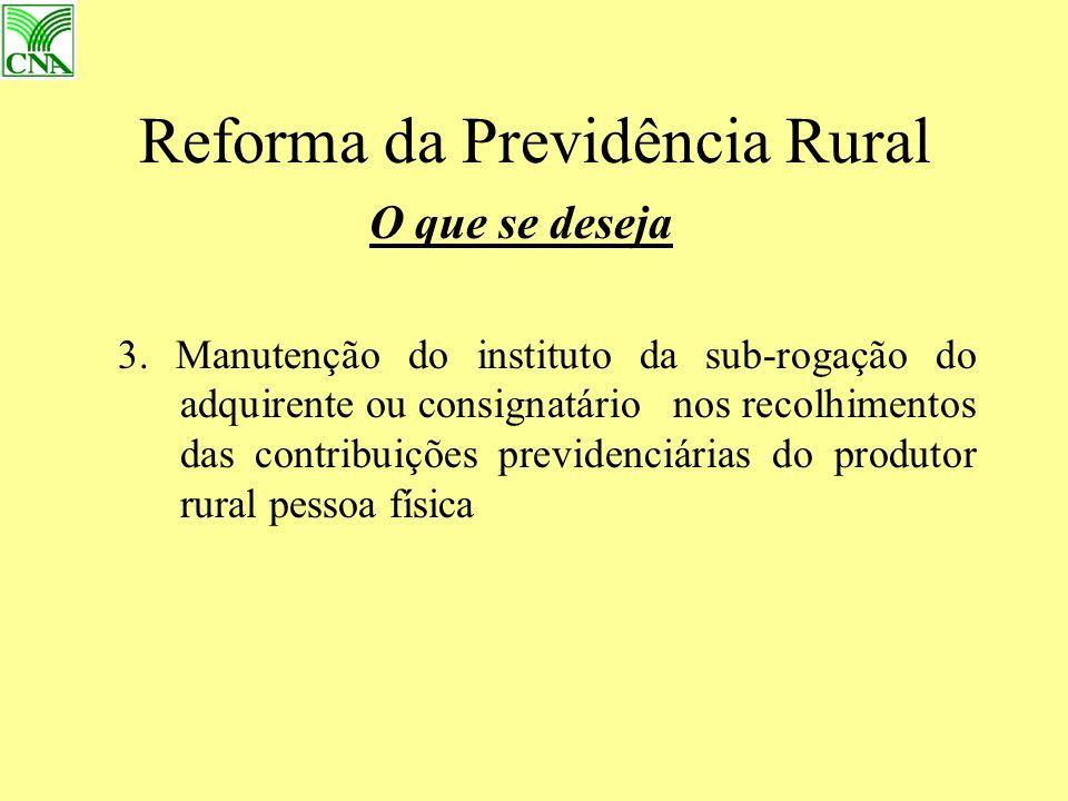 Reforma da Previdência Rural O que se deseja 3.