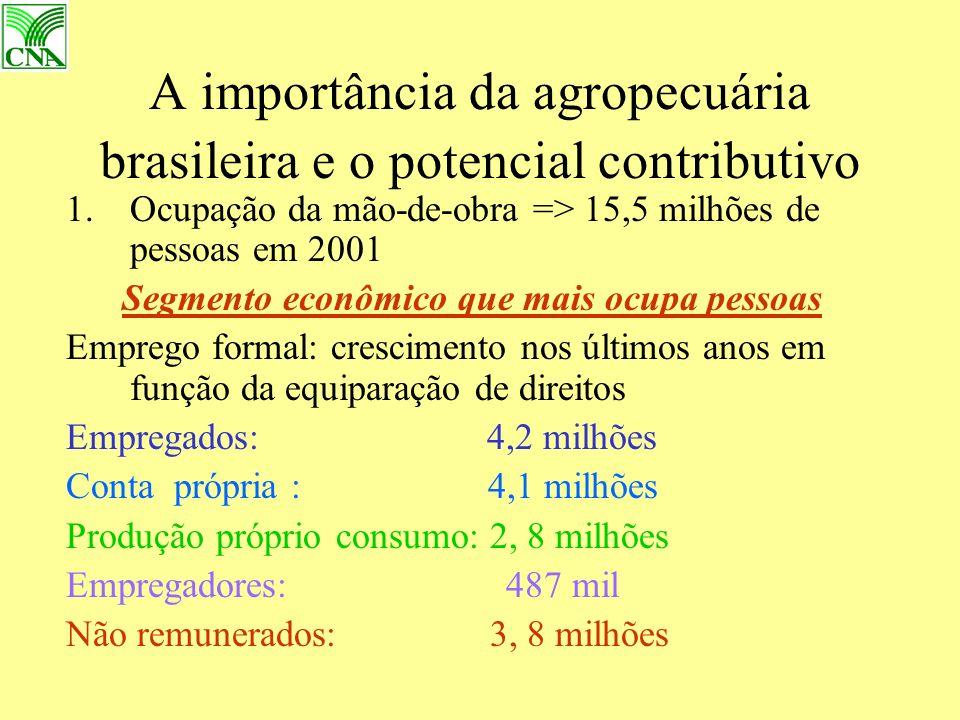 A importância da agropecuária brasileira e o potencial contributivo 1.Ocupação da mão-de-obra => 15,5 milhões de pessoas em 2001 Segmento econômico que mais ocupa pessoas Emprego formal: crescimento nos últimos anos em função da equiparação de direitos Empregados: 4,2 milhões Conta própria : 4,1 milhões Produção próprio consumo: 2, 8 milhões Empregadores: 487 mil Não remunerados: 3, 8 milhões