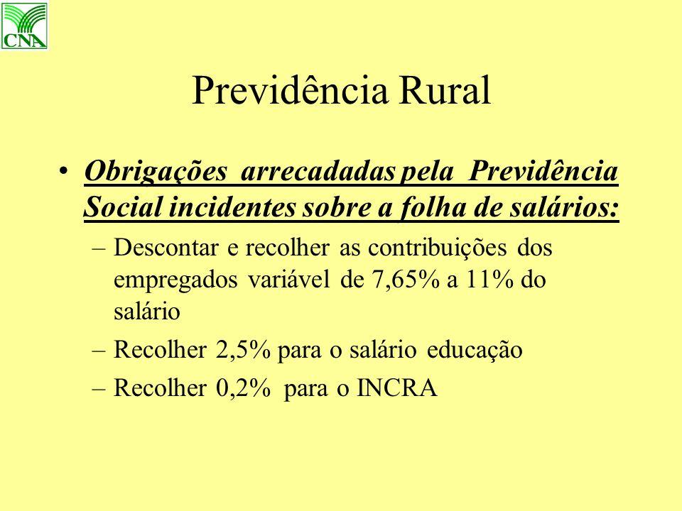 Previdência Rural Obrigações arrecadadas pela Previdência Social incidentes sobre a folha de salários: –Descontar e recolher as contribuições dos empregados variável de 7,65% a 11% do salário –Recolher 2,5% para o salário educação –Recolher 0,2% para o INCRA