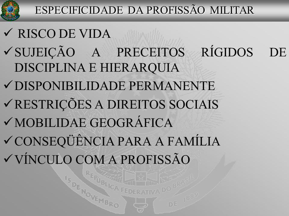 RISCO DE VIDA SUJEIÇÃO A PRECEITOS RÍGIDOS DE DISCIPLINA E HIERARQUIA DISPONIBILIDADE PERMANENTE RESTRIÇÕES A DIREITOS SOCIAIS MOBILIDAE GEOGRÁFICA CO