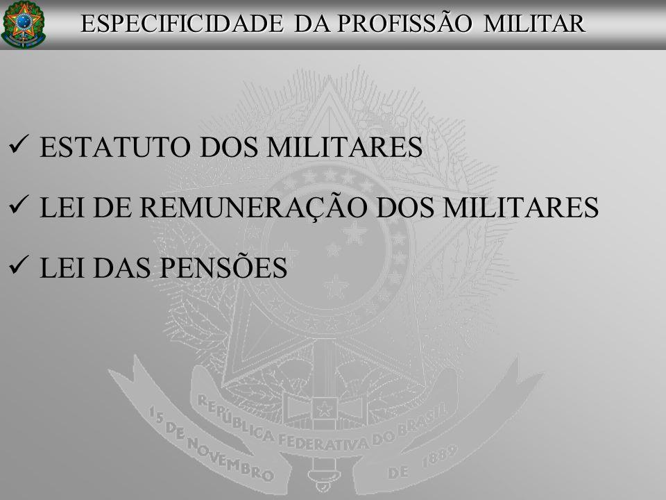 ESTATUTO DOS MILITARES LEI DE REMUNERAÇÃO DOS MILITARES LEI DAS PENSÕES ESPECIFICIDADE DA PROFISSÃO MILITAR