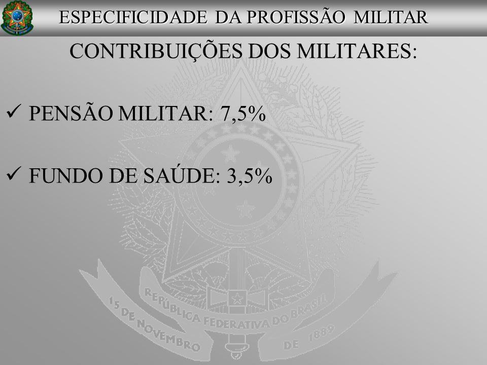CONTRIBUIÇÕES DOS MILITARES: PENSÃO MILITAR: 7,5% FUNDO DE SAÚDE: 3,5% ESPECIFICIDADE DA PROFISSÃO MILITAR