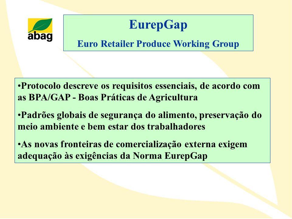 EurepGap Euro Retailer Produce Working Group Protocolo descreve os requisitos essenciais, de acordo com as BPA/GAP - Boas Práticas de Agricultura Padr