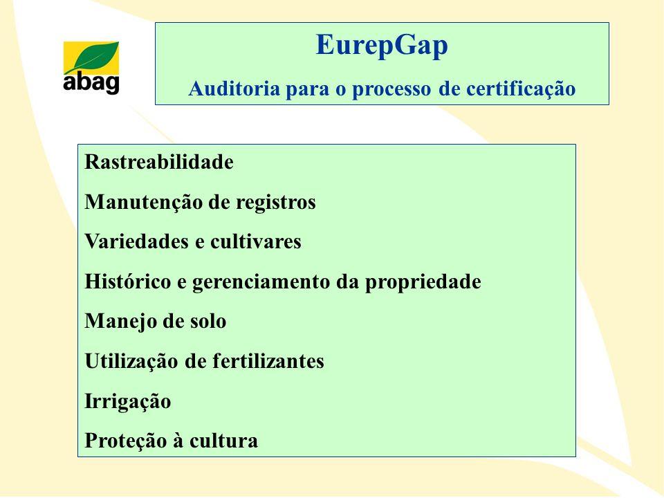 EurepGap Auditoria para o processo de certificação Rastreabilidade Manutenção de registros Variedades e cultivares Histórico e gerenciamento da propri
