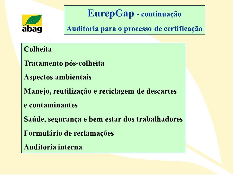 EurepGap - continuação Auditoria para o processo de certificação Colheita Tratamento pós-colheita Aspectos ambientais Manejo, reutilização e reciclage