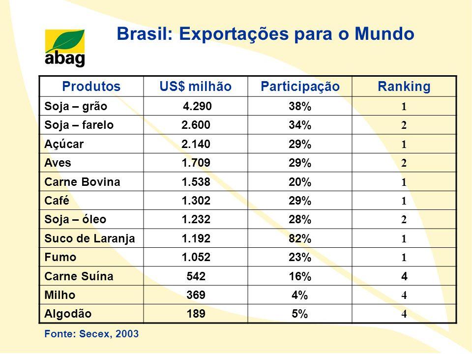 Brasil: Exportações para o Mundo ProdutosUS$ milhãoParticipaçãoRanking Soja – grão 4.29038% 1 Soja – farelo2.60034% 2 Açúcar2.14029% 1 Aves1.70929% 2