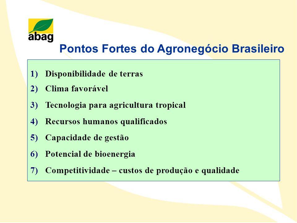 Pontos Fortes do Agronegócio Brasileiro 1)Disponibilidade de terras 2)Clima favorável 3)Tecnologia para agricultura tropical 4)Recursos humanos qualif