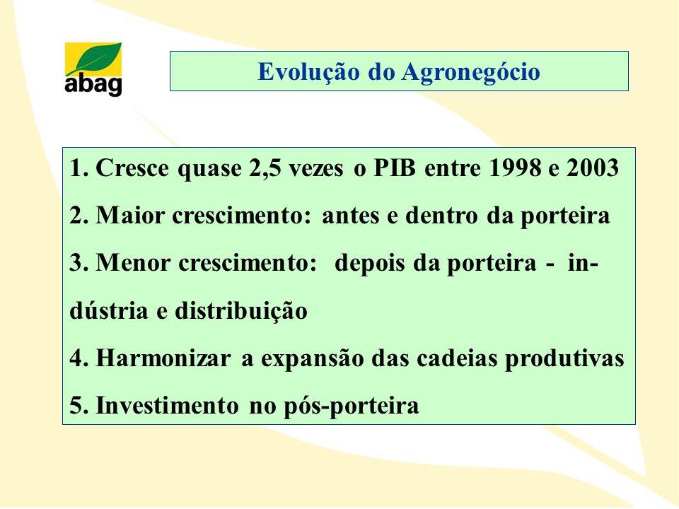 1. Cresce quase 2,5 vezes o PIB entre 1998 e 2003 2. Maior crescimento: antes e dentro da porteira 3. Menor crescimento: depois da porteira - in- dúst