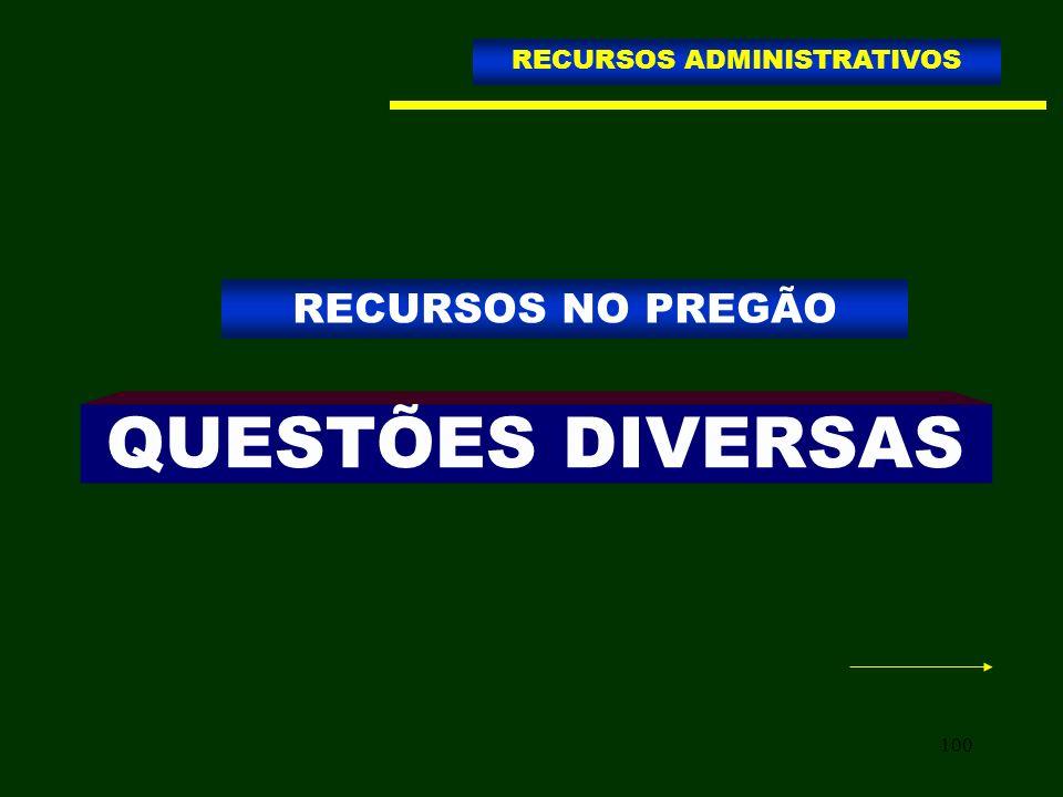 100 QUESTÕES DIVERSAS RECURSOS NO PREGÃO RECURSOS ADMINISTRATIVOS