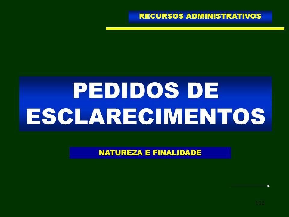 102 PEDIDOS DE ESCLARECIMENTOS RECURSOS ADMINISTRATIVOS NATUREZA E FINALIDADE