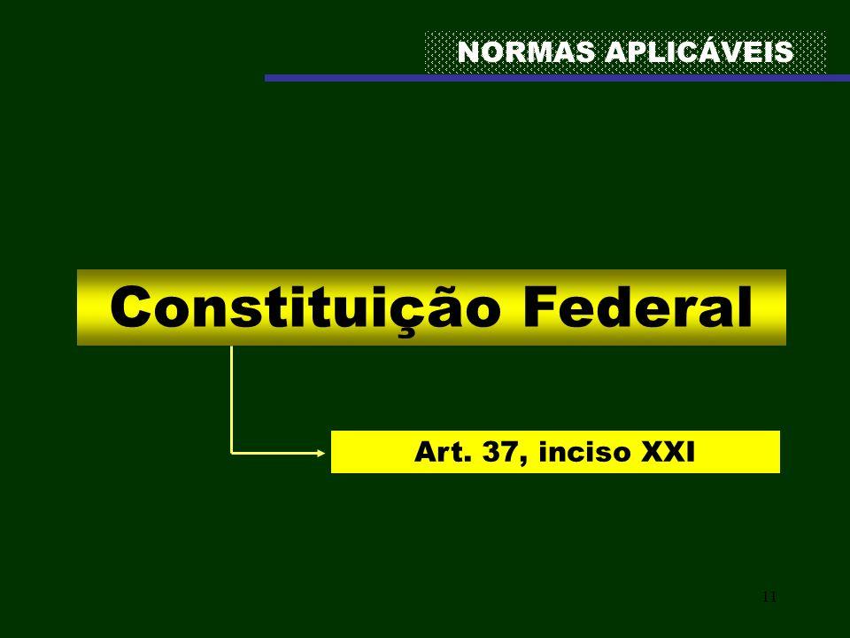 11 NORMAS APLICÁVEIS Constituição Federal Art. 37, inciso XXI