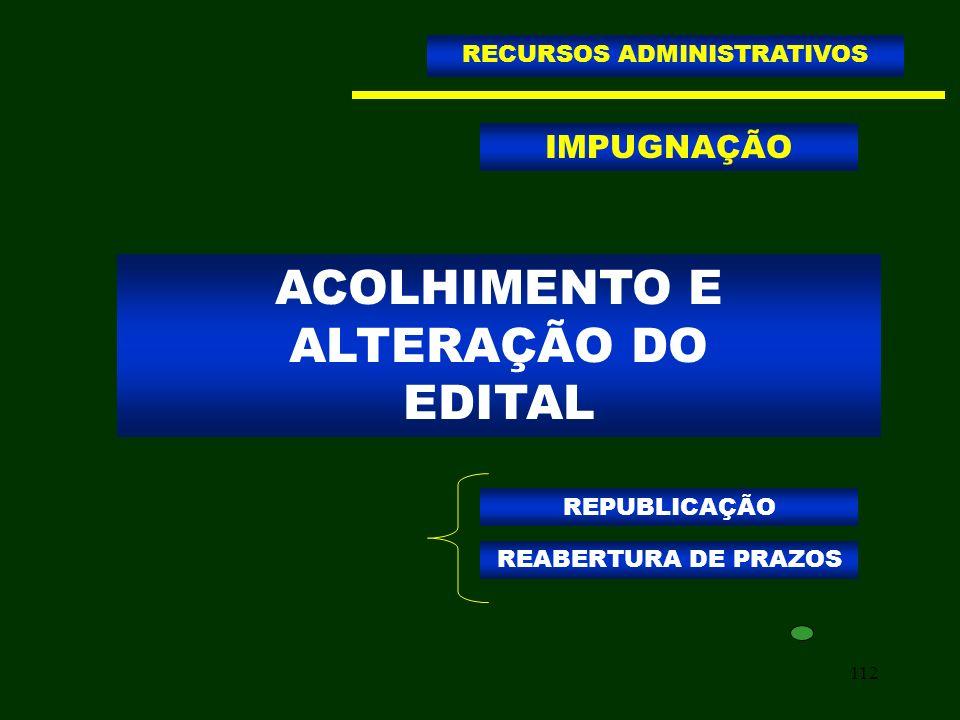 112 ACOLHIMENTO E ALTERAÇÃO DO EDITAL RECURSOS ADMINISTRATIVOS IMPUGNAÇÃO REPUBLICAÇÃO REABERTURA DE PRAZOS