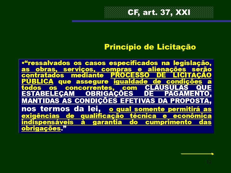 12 ressalvados os casos especificados na legislação, as obras, serviços, compras e alienações serão contratados mediante PROCESSO DE LICITAÇÃO PÚBLICA