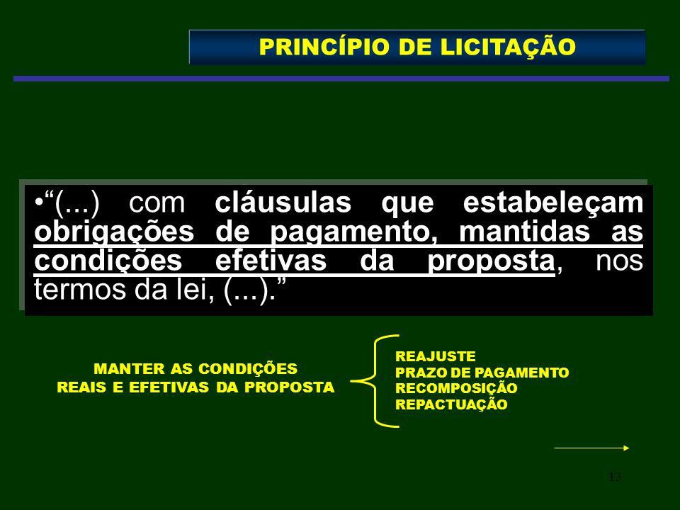 13 (...) com cláusulas que estabeleçam obrigações de pagamento, mantidas as condições efetivas da proposta, nos termos da lei, (...). PRINCÍPIO DE LIC